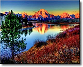 Shukqueen DIY Oil Painting, Adult's Paint by Number Kits, Acrylic Painting Dusk Mountain Landscape 16X20 Inch (Frameless)