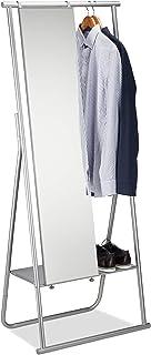 Relaxdays Portant métal miroir porte-manteaux glace emplacement chaussures tringle HxlxP: 156,5 x 64,5 x 39 cm, argenté