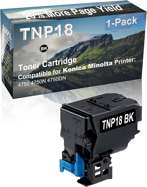 1-Pack (Black) Compatible 4750, 4750N, 4750DN Printer Toner Cartridge High Capacity Replacement for Konica Minolta TNP18 (TNP18BK) Toner Cartridge