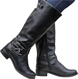 Womens Mid Calf Boots Round Toe Low Heel Buckle Strap Side Zipper Winter Booties