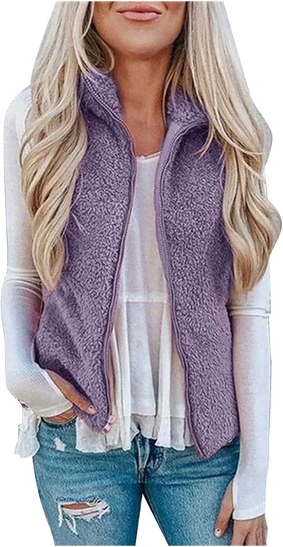 Women Plus Size Sleeveless Jacket Solid Color Plush Lapel Vest Oversized Casual Loose Zipper Coat with Pocket S-5XL