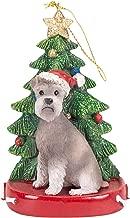 K. Adler Grey Schnauzer 4 Inch Santa Dog Resin Christmas Ornament