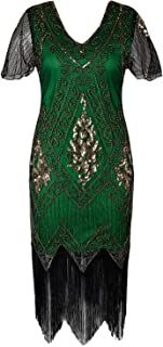 kayamiya Women's Flapper Dresses 1920s Sequins Art Deco Gatsby Cocktail Dress with Sleeve