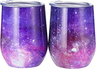 Skylety 12 oz Double-insulated Stemless Glass, Stainless Steel Tumbler Cup with Lids for Wine, Coffee, Drinks, Champagne, Cocktails, 2 Pieces (Starry Purple)