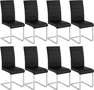 tectake 800883 8er Set Esszimmerstuhl, Kunstleder Stuhl mit hoher Rückenlehne, Schwingstuhl mit ergonomisch geformter Rück...
