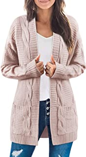 Sponsored Ad - ZROZYL Womens Long Sleeve Open Front Cable Knit Cardigan Sweater Outwear with Pockets
