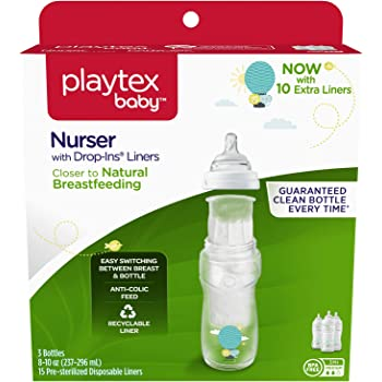 Playtex Baby Nurser Bottle with Disposable Drop-Ins Liners, for Breastfed Babies, 4 Ounce Bottles, 3 Count