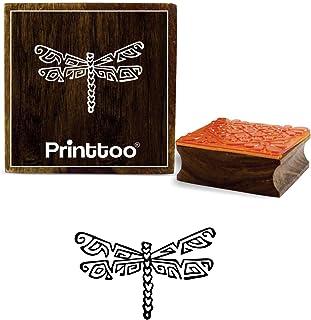 كتاب قصاصات من المطاط الخشبي مربع بتصميم اليعسوب من شركة برينتتو, بني, 2 x 2 Inches