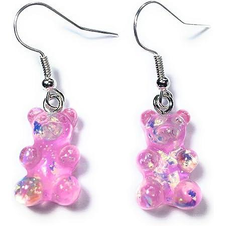 Pink and Green Glitter Gummy Bear Earrings