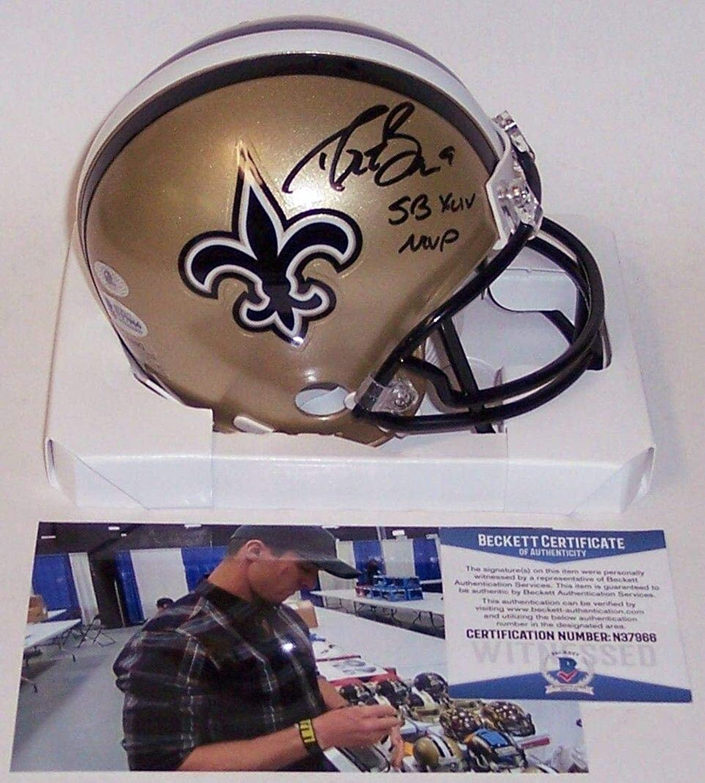 Autographed Drew Brees Mini Helmet  BAS  Beckett Authentication  Autographed NFL Mini Helmets