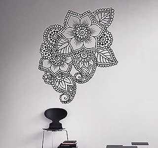 Mehndi Henna Wall Decal Abstract Flowers Vinyl Sticker Henna Flower Home Interior Indian Mandala Wall Art Murals 16(mhi)