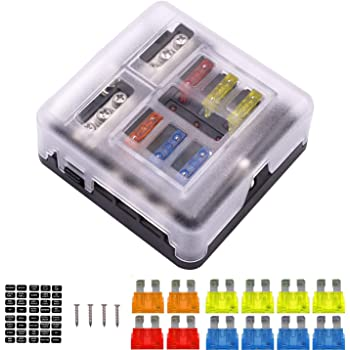 [DIAGRAM_5FD]  Amazon.com: 6-Way Fuse Box Blade Fuse Block Holder Screw Nut Terminal  W/Negative Bus 5A 10A 15A 20A Free Fuses LED Indicator Waterpoof Cover for  Automotive Car Marine Boat: Home Improvement | Screw In Fuse Box |  | Amazon.com