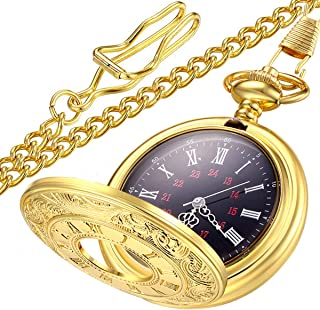 Vintage Roman Numerals Quartz Pocket Watch, Men Womens Watch with Chain As Xmas Fathers Day Gift