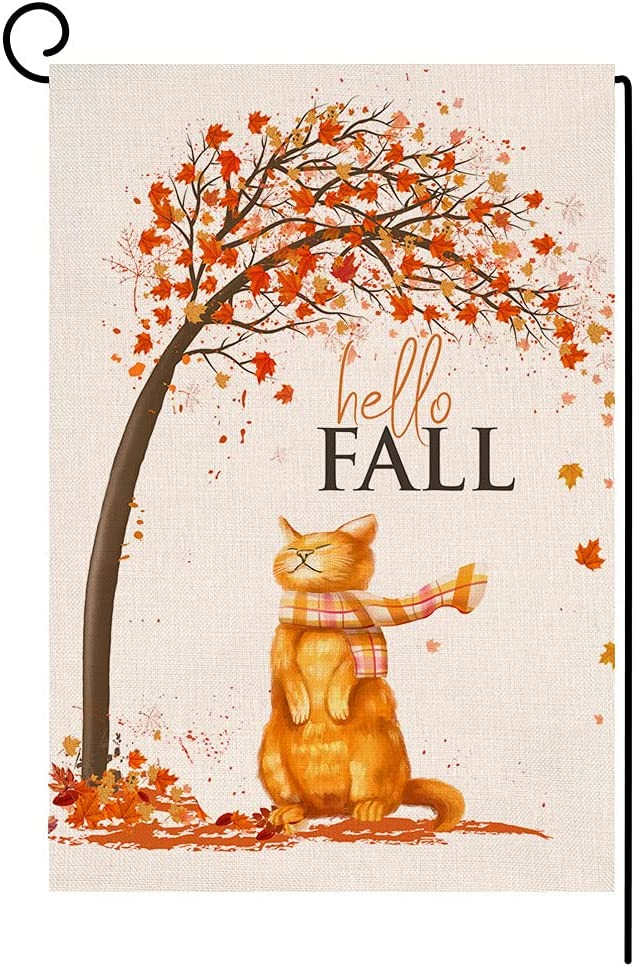 BLKWHT Fall Cat Garden Flag Vertical Double Sided Autumn Thanksgiving Maple Leaves Orange Burlap Yard Outdoor Decor 12.5 x 18 Inches BW003