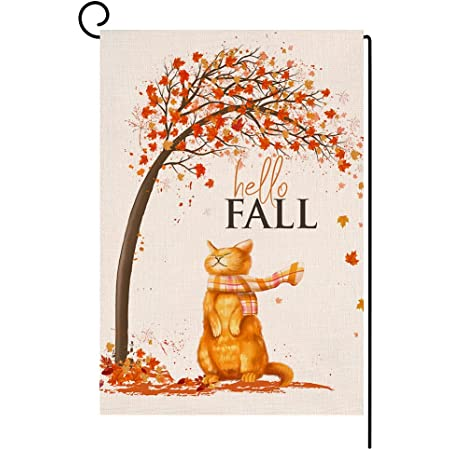 BLKWHT Fall Cat Small Garden Flag 12x18 Inch Vertical Double Sided Autumn Thanksgiving Maple Leaves Orange Burlap Yard Outdoor Decor BW003
