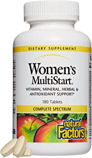 Natural Factors, Women's MultiStart Daily Multivitamin, Nutritional Support for Immune Health and Energy, 180 tablets (60 ...
