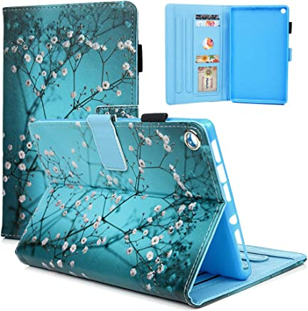 Badalink Kindle Fire HD 8 Case, Kindle Fire HD 8 2017/2016/2015 Case Wallet Protective Automatic Sleep & Wake Cover Kickstand Bumper Artistic Leather Skin TPU Shell Fire HD 8 2017/2016 / 2015