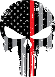 Blueline Punisher Red Line Skull 5.5 x 4 Inch Tattered Subdued Us Flag Reflective Decal Honoring Firefighters, EMT, Paramedics