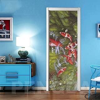 CHUANMT Etiquetas engomadas Pared Puerta 3D Etiquetas engomadas desprendibles Vinilo Papel Pintado 77x200cm Hermoso pez de Colores para la decoración casera, Autoadhesivo Impermeable