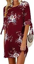 Kidsform Mini Robe Femme Jupe Courte Femme Grande Taille Chic Robe Chemise Tunique Manches Longues T-Shirt Robe Haut Chemiser Fleurie Col Rond Casual Décontractée Hiver