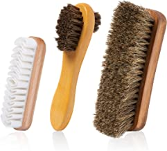 TAKAVU Horsehair Shoe Shine Brush Kit- 3 Different Shapes & Sizes - Premium Horsehair Shoe Shine Brush, Polish Applicator, Crepe Suede Shoes Brush for Shoes, Leather, Boot, Cloth, Bag