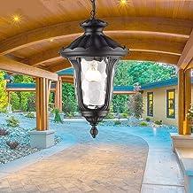Vintage Pendant Light Outdoor Waterproof Ceiling Hanging Lamp E27 Anti-Rust Aluminum Glass Chandelier Lighting Fixture for...