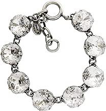 Catherine Popesco Silvertone 12mm Crystal Round Bracelet, Clear Crystal 1696