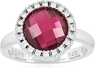 Esprit Classiness Red Women's Ring Sterling Silver 925/1000 5.7 g Glass Cubic Zirconia Pink