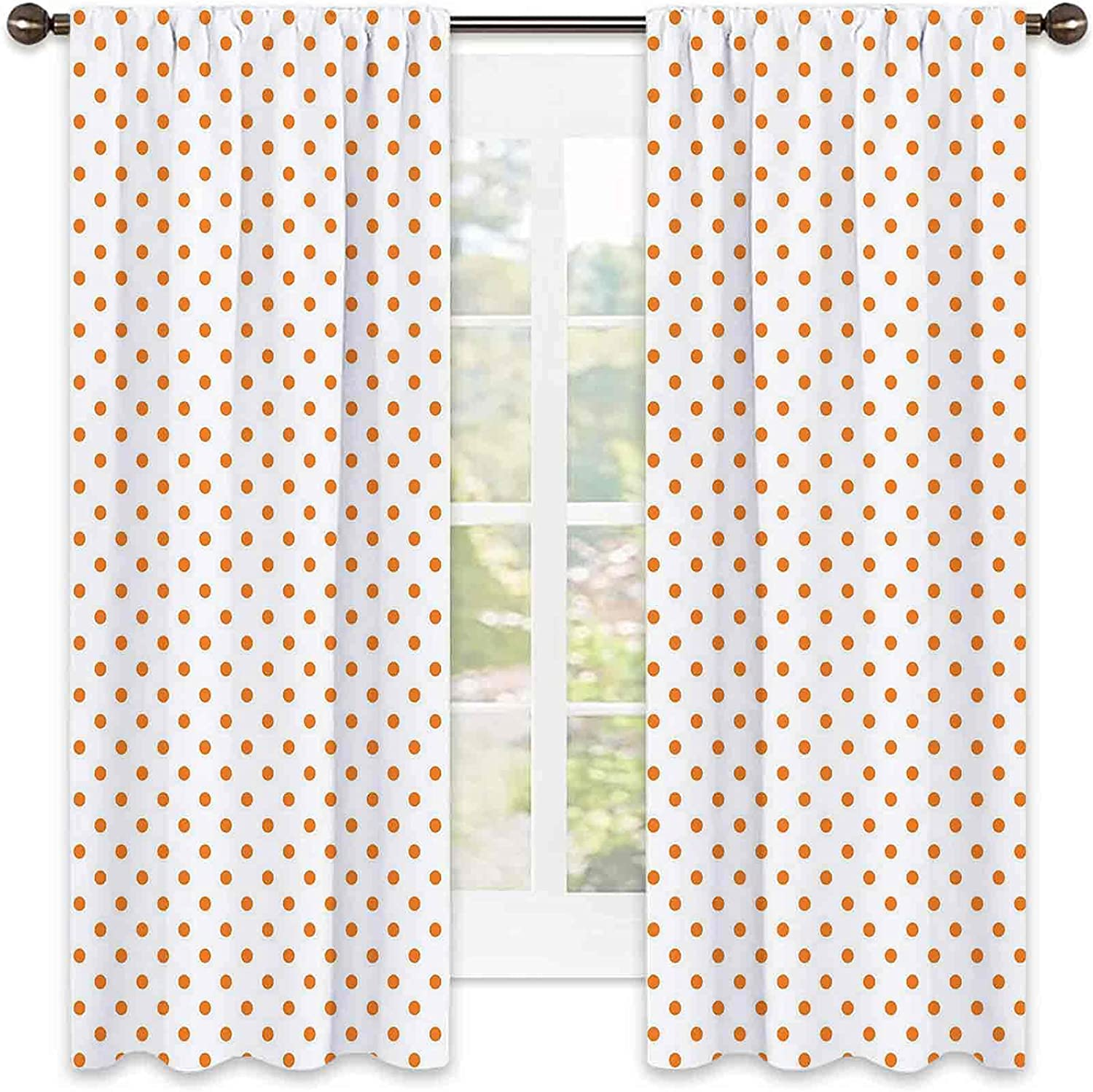 Orange Factory outlet Shading Insulated Curtain Little Sales for sale Polka Bl on Dots