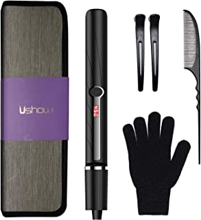 USHOW Professional Salon Hair Straightener and Curler 2 in 1 Curlling Iron Tourmaline Ceramic Flat Iron for Hair Styling with Adjustable Temperature of 230℉-450℉, 1 inch Plate