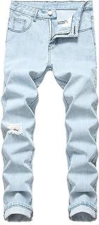 Heren jeans met middelhoge taille, eenvoudige effen kleur Slim Fit rechte casual distressed gescheurde gaten Jeans Denim b...