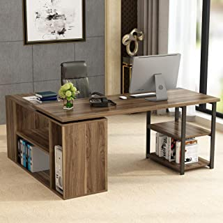 L-Shaped Computer Desk, Tribesigns Rotating Corner Computer Desk with Bookcase &File Cabinet, Reversible Study Writing Desk Table Workstation for Home Office