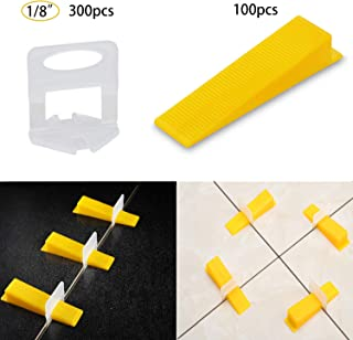 Tile Leveling System Tiles Leveler Spacers 1/8 Inch - Lippage free tile and stone installation for PRO and DIY - 300-Piece Leveling Spacer Clips Plus 100-Piece Reusable Wedges (1/8 Inch)