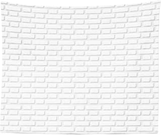 Lunarable White Tapestry King Size, Urban City Construction Theme with Cartoon Style Brick Wall Architecture Concept, Wall Hanging Bedspread Bed Cover Wall Decor, 104