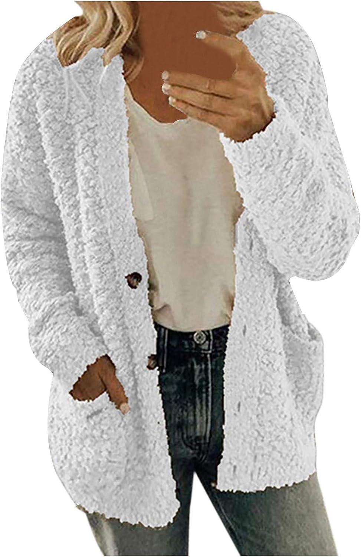 Winter Women's Fuzzy Hooded Coats Casual Solid Color Jacket Warm Fleece Outwear Fuzzy Open Front Buttons Cardigan Outwear
