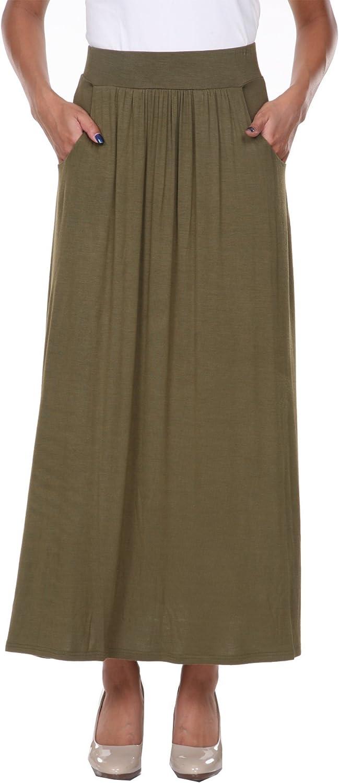 white mark Women's Full Length Maxi Skirt with Pockets