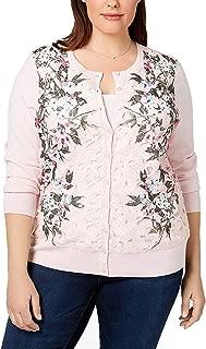 Charter Club Plus Size Floral-Print Lace Cardigan