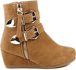 the latest 288f4 9c95b Link Peggy Kids Dual Gold Buckle Ankle Strap Decor Zipper Dress Booties