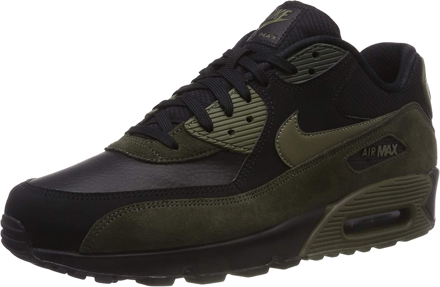 Nike Mens Air Max 90 Leather Running shoes Black Medium Olive Sequoia 302519-014 Size 8.5