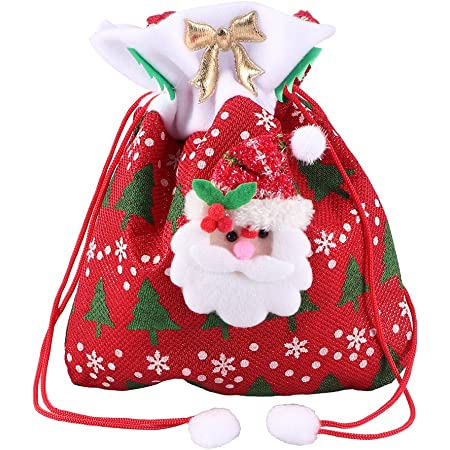 Lace and fabric Christmas gift bag Holiday favor bag Small cloth gift pouch Natural linen drawstring pouch 12 x 19 cm Christmas stocking
