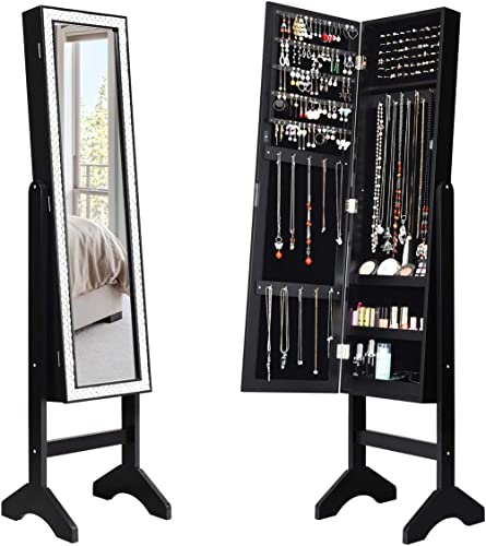 lowest Giantex outlet online sale Mirrored Jewelry Cabinet Armoire with Mirror w/Resin Diamond high quality Design Standing Storage Organizer Box with Full-length Mirror, Earring Slots Holes, Necklace Hooks, Storage Shelves, Black outlet sale