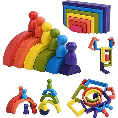 XIAPIA Jouet en Bois Arc-en-Ciel 19 Blocs de Construction Motricité Fine Jouets Montessori pour Garçons Filles Puzzle en Bois Tour d'empilage Jouets d'Éveil Éducatifs pour Enfants 1-3 Ans Cadeau Bebe