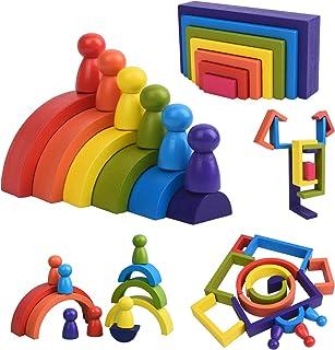 XIAPIA Jouet en Bois Arc-en-Ciel 19 Blocs de Construction Motricité Fine Jouets Montessori pour Garçons Filles Puzzle en B...