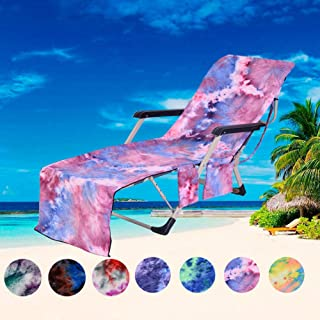 Beach Chair Cover, Microfiber Chaise Lounge Towel Cover with Storage Pockets for Pool Sun Lounger Hotel Garden Purple Tie-Dye