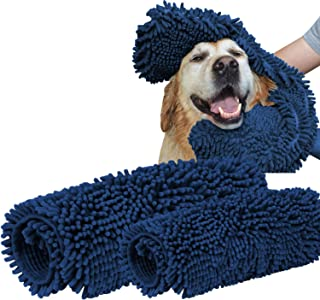 Turquoize Super Shammy Dog Towel Ultra Soft Microfiber Chenille Dog Pet Bath Dry Towel Hand Pockets Super Absorbent Durable Quick Drying Washable Towel