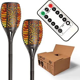 Xabitat Solar Tiki Torches Lights - Remote Controlled Flickering Flame Yard Decorations - LED Waterproof Outdoor Lighting - Patio and Pathway Decor - Suits Lawn Deck and Driveway Decorati