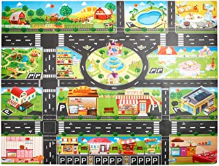JSPOYOU Kids Play Mat City Road Buildings Parking Map Game Scene Map Educational Toys
