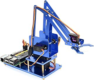 waveshare 4-DOF Metal Robot Arm Kits for Raspberry Pi Zero/Zero W/Zero WH/2B/3B/3B+ Starter Learn Robotics Kit Support Bluetooth/WiFi Remote Control, I2C Interface