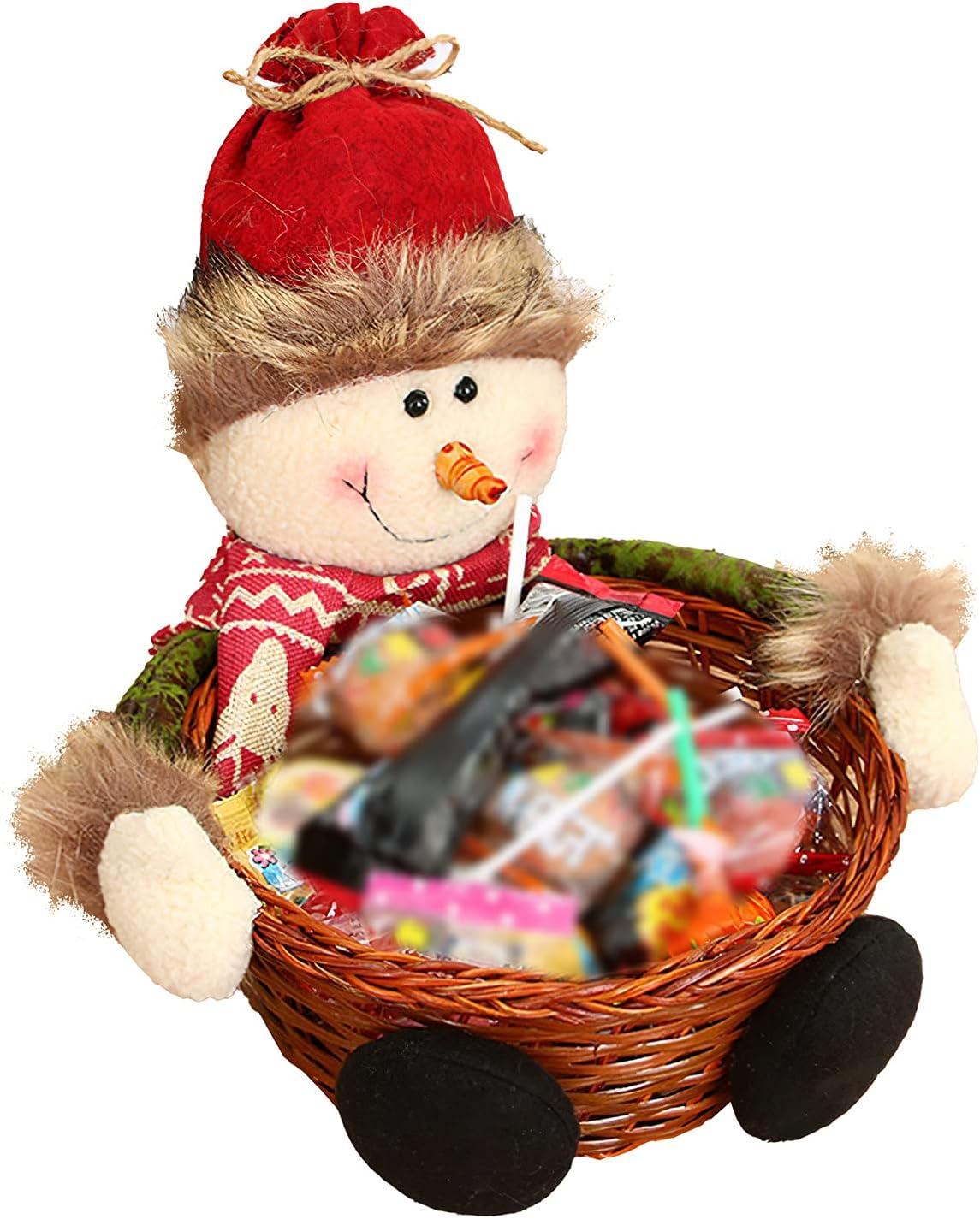 ALLOMN Cesta de dulces de decoración navideña, cuenco de almacenamiento de caramelos de Navidad con muñeco de nieve, cesta de adorno de Navidad, soporte de caramelos para Navidad