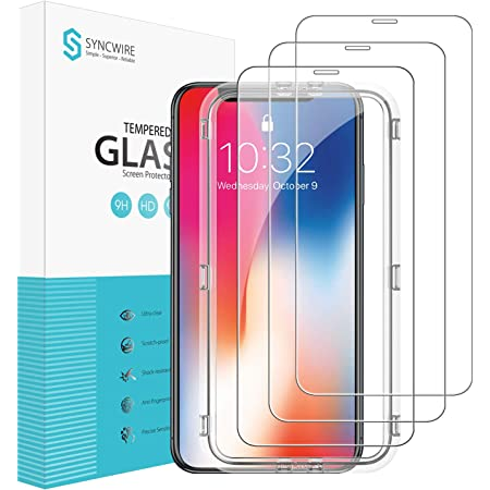 Syncwire [3 Pies] Protector Pantalla para iPhone 11 Pro/XS/X - [Antiarañazos, Antihuellas, Sin Burbujas] HD Cristal Vidrio Templado con [9H Dureza] [2.5D Borde Redondo] 5.8 Pulgadas